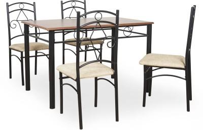 FurnitureKraft Kentucky Metal 4 Seater Dining Set(Finish Color - Black)