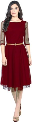 Dream Beauty Fashion Women Fit and Flare Maroon Dress