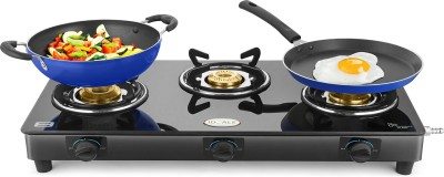 Ideale Triox-KT Steel Manual Gas Stove(3 Burners) at flipkart
