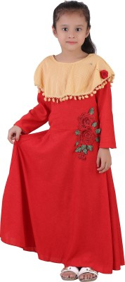 Crazeis Girls Maxi/Full Length Party Dress(Red, Full Sleeve) at flipkart