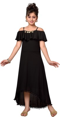 Hunny Bunny Girls Maxi/Full Length Party Dress(Black, Fashion Sleeve)