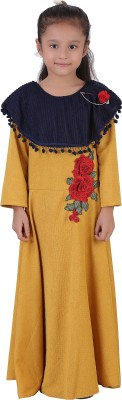 Crazeis Girls Maxi/Full Length Party Dress(Yellow, Full Sleeve) at flipkart