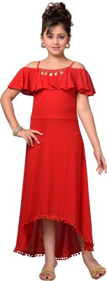 Hunny Bunny Girls Maxi/Full Length Party Dress(Red, Fashion Sleeve)