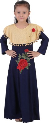 Crazeis Girls Maxi/Full Length Party Dress(Blue, Full Sleeve)