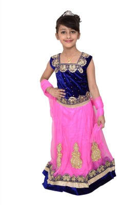 Arshia Fashions Girls Lehenga Choli Ethnic Wear Embroidered Lehenga, Choli and Dupatta Set(Multicolor, Pack of 1)  available at flipkart for Rs.1999