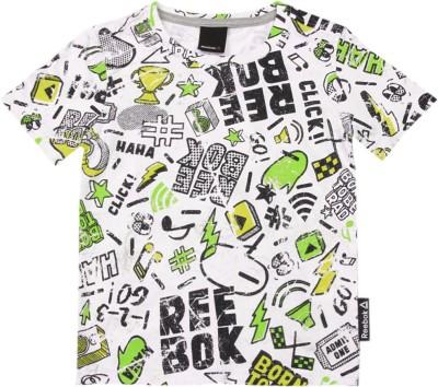 REEBOK Boy's Solid T Shirt(White)