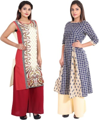 TEEJ Casual Floral Print Women Kurti(Pack of 2, Multicolor)
