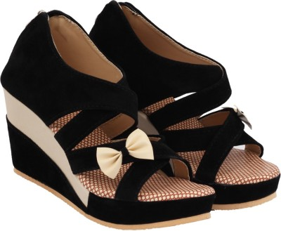 ABJ Fashion Women Black Wedges