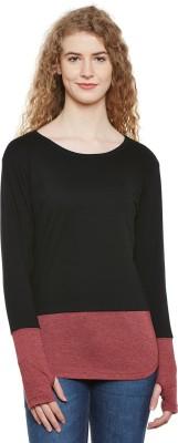 Hypernation Solid Women Round Neck Maroon, Black T Shirt
