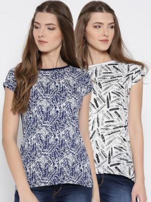 U F Casual Short Sleeve Graphic Print Women Dark Blue, White Top