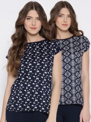 U&F Casual Short Sleeve Animal Print Women