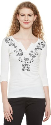 Hypernation Casual 3/4 Sleeve Embroidered Women White Top Hypernation Women's Tops