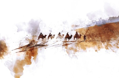 Camels and people on silk road Laminated Painting ( 12 x 18 ) Paper Print(12 inch X 18 inch, Rolled in carboard Tube)  available at flipkart for Rs.170