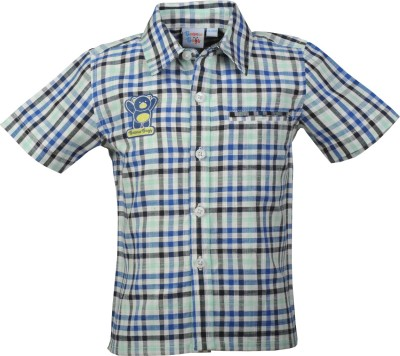 Beanie Bugs Boys Checkered Casual Green Shirt  available at flipkart for Rs.254