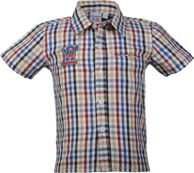 Beanie Bugs Boys Checkered Casual Maroon Shirt  available at flipkart for Rs.254