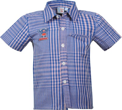 Beanie Bugs Boys Checkered Casual Blue Shirt  available at flipkart for Rs.249