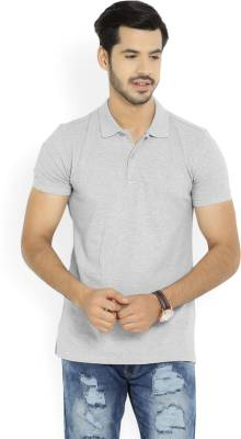 United Colors of Benetton. Solid Men's Polo Neck Grey T-Shirt