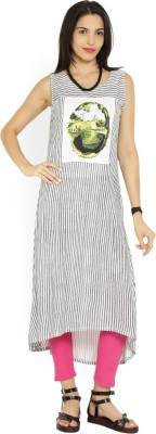 W Women Printed, Striped Straight Kurta(White, Grey)