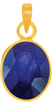Freedom Certified Natural Blue Sapphire (Neelam) Pendant 4.25 Ratti or 3.66 Carat for Male & Female Panchdhatu 22K Gold Plated Alloy Pendant