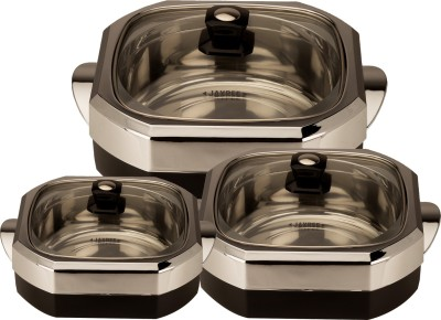 Jaypee First Glass Set Pack of 3 Casserole Set(3.8 L)