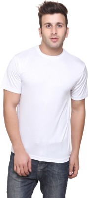 Funky Guys Solid Men's Round Neck White T-Shirt