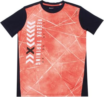 REEBOK Boys & Girls Printed Polyester T Shirt(Orange, Pack of 1)