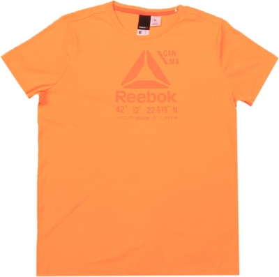 REEBOK Girls Printed Polyester T Shirt(Yellow, Pack of 1)
