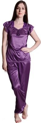 Senslife Women Solid Purple Top & Pyjama Set
