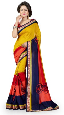 Divastri Geometric Print Bollywood Georgette Saree(Yellow)