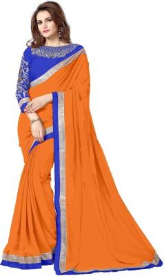Amar Enterprise Embroidered Daily Wear Georgette Saree(Orange)