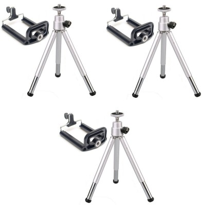 ReTrack SET OF 3PC Adjustable Mini Mobile Phone Camera Stand Clip Bracket Holder Tripod Black, Supports Up to 500 g
