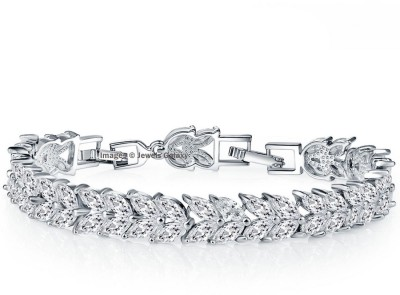 Jewels Galaxy Alloy Swarovski Crystal Platinum Charm Bracelet at flipkart