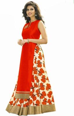 Spangel Enterprise Silk Solid, Floral Print Semi-stitched Lehenga Choli Material