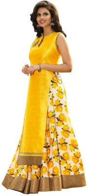 beelee typs Poly Silk Floral Print Semi-stitched Lehenga Choli Material