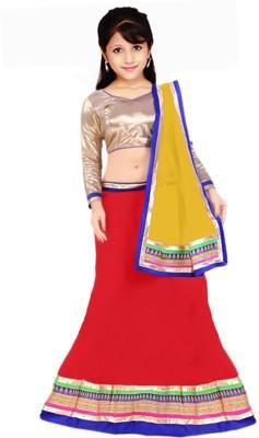 PURVA ART Girls Lehenga Choli Ethnic Wear Self Design Lehenga, Choli and Dupatta Set(Red, Pack of 1)