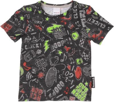 REEBOK Boys Printed Cotton T Shirt(Black, Pack of 1)