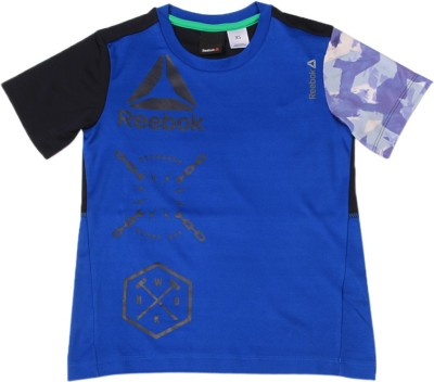 REEBOK Boys & Girls Printed Polyester T Shirt(Dark Blue, Pack of 1)