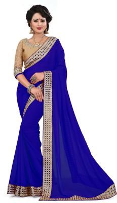 Saumya Designer Embroidered, Self Design Bollywood Faux Georgette Saree(Blue) Flipkart