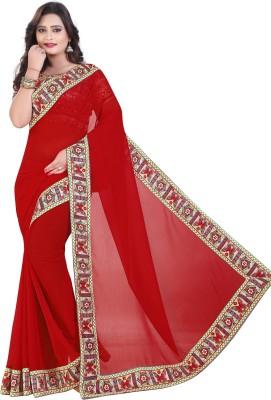 Maiya Saree Solid Fashion Georgette Saree(Red)
