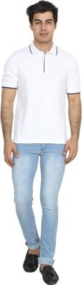 BrandTrendz Solid Men's Polo Neck White T-Shirt