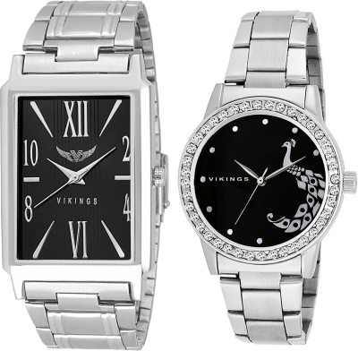 VIKINGS ROYAL STYLE SQUARE AND ROUND COMBO FOR COUPLE Watch  - For Men & Women   Watches  (VIKINGS)