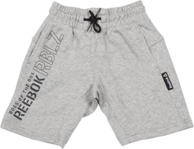 REEBOK Short For Boys Sports Printed Cotton Polyester Blend(Grey, Pack of 1)