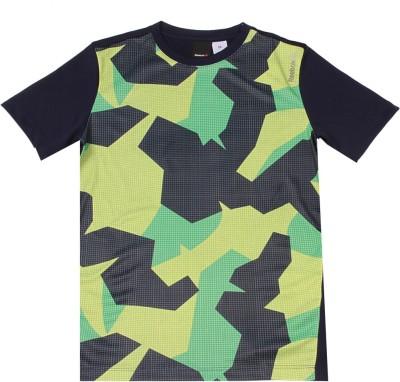 REEBOK Boys & Girls Printed Polyster T Shirt(Dark Blue, Pack of 1)