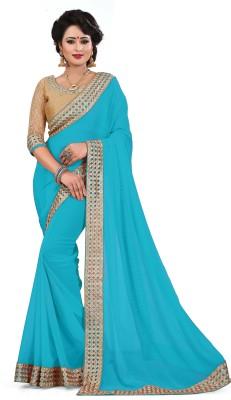 Saumya Designer Embroidered, Self Design Bollywood Faux Georgette Saree(Light Blue) Flipkart