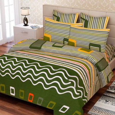 Supreme Home Collective Cotton Abstract Double Bedsheet(1 bedsheet with 2 pillow cover, Green)