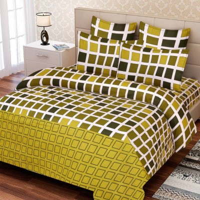 Supreme Home Collective Cotton Checkered Double Bedsheet(1 bedsheet with 2 pillow cover, Green)