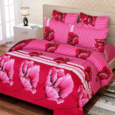 Supreme Home Collective Cotton Floral Double Bedsheet(1 bedsheet with 2 pillow cover, Pink)