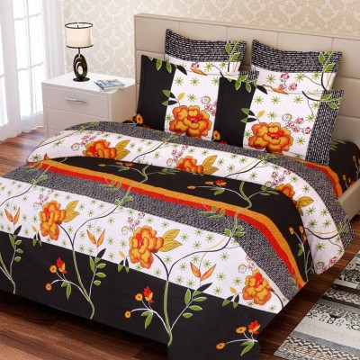 Supreme Home Collective Cotton Floral Double Bedsheet(1 bedsheet with 2 pillow cover, Maroon)