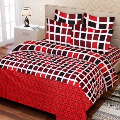 Supreme Home Collective Cotton Checkered Double Bedsheet(1 bedsheet with 2 pillow cover, Red)