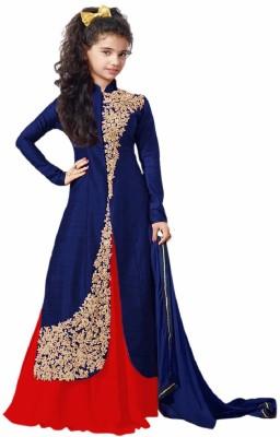 Stylishvilla Baby Girl's Lehenga Choli Ethnic Wear Embroidered Ghagra, Choli, Dupatta Set(Blue, Pack of 1)